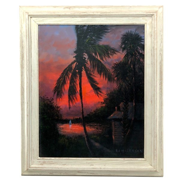 Firesky Lagoon Scene by Florida Highwayman R A McLendon