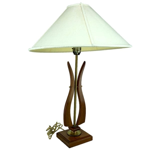 Mid Century Navis and Smith Co. Walnut and Brass Table Lamp