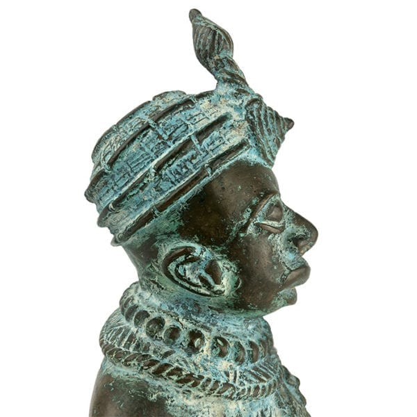 Profile View of Head on Early African Bronze Sculpture