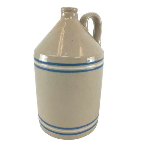 Stoneware Jug with Blue and White Bands