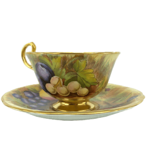 Aynsley England Hand Painted Orchard Fruits Tea Cup & Saucer